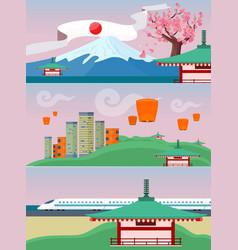 japan travelling banner japanese landmarks vector image vector image