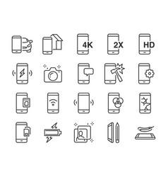 Mobile line icon set vector