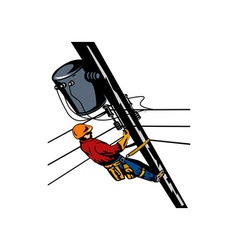 Power Lineman Telephone Repairman Electrician vector image