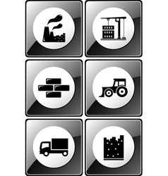 set of glossy industrial icons vector image vector image