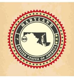 Vintage label-sticker cards of Maryland vector image