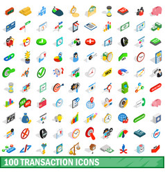 100 transaction icons set isometric 3d style vector image