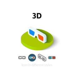 3D icon in different style vector image