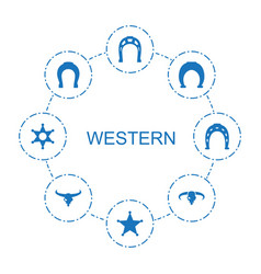 8 western icons vector