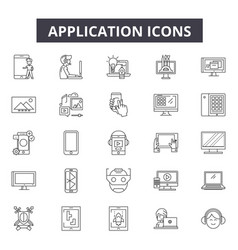 applications line icons for web and mobile design vector image