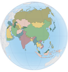asia continent is divided country on globe vector image