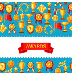 Awards and trophy seamless pattern vector