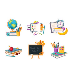 back to school elements set education icons vector image