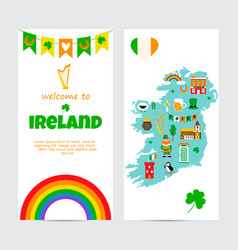 background template with tourist map ireland vector image