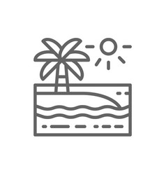 beach with palm trees landscape line icon vector image