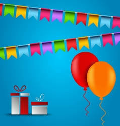 Birthday card with flags balloons and gifts vector
