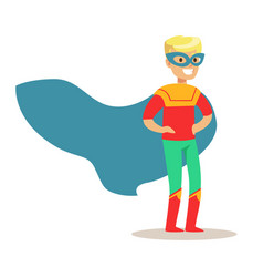blond boy pretending to have super powers dressed vector image