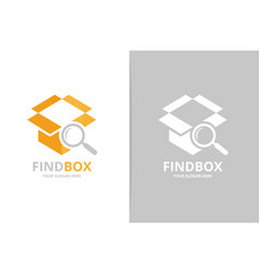 Box and loupe logo combination package and vector
