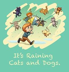 Boy with umbrella under the rain vector