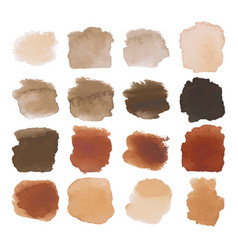 Brown blots watercolor set vector