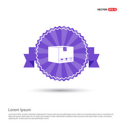 cardboard boxes icon - purple ribbon banner vector image
