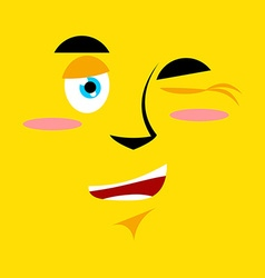 Cartoon winking face on yellow background It vector