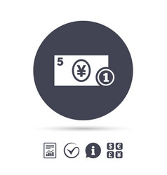 Cash sign icon yen money symbol coin vector