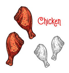 Chicken or turkey leg sketch of fried poultry meat vector