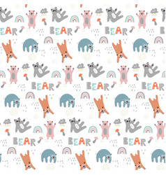 Childish seamless pattern with cute bears vector