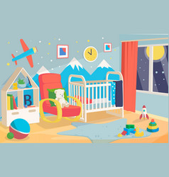 childrens room interior with a cot chair vector image