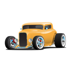 Classic american yellow 32 hotrod car vector