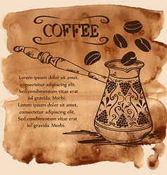 Coffee copper turk on a watercolor background vector image
