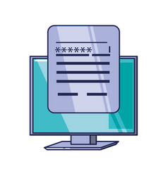computer monitor and document with password vector image