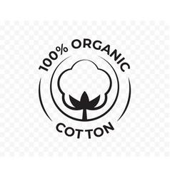 Cotton 100 organic icon bio and eco natural vector