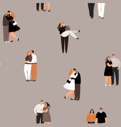 couple in love is kissing and hugging seamless vector image