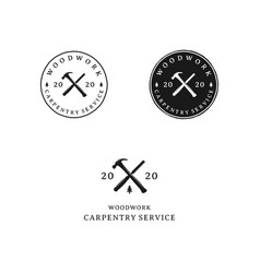 Crossed hammer and carver retro rustic hipster vector