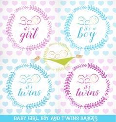 cute bagirl boy and twins design elements vector image