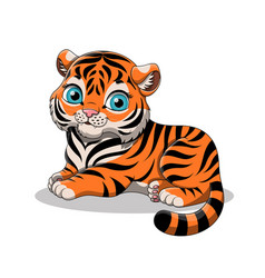 Cute cartoon baby tiger isolated on white vector
