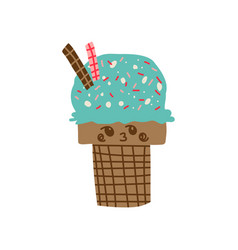 cute delicious ice cream cartoon character vector image