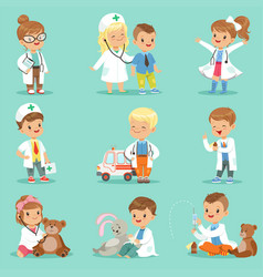 cute kids playing doctor set smiling little boys vector image