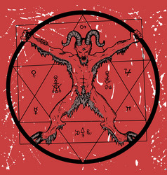 Devil with pentagram on red textured background vector