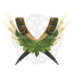drinking viking horn two crossed horns vector image