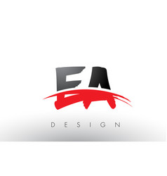Ea e a brush logo letters with red and black vector