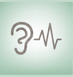 Ear hearing sound sign brown flax icon on vector