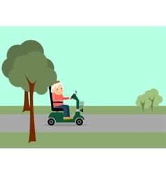 Eldery woman on road vector