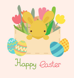 Envelope with easter eggflowers and rabbit vector