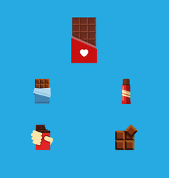 Flat icon bitter set of chocolate cocoa bitter vector