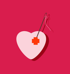 Flat icon design collection heart with a needle vector