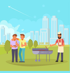 friends on bbq flat vector image