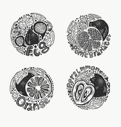 Fruits in round set 1 bw vector