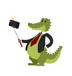 Funny picture crocodile photographer mama person vector