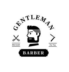 Gentleman barber logo with handsome man vector