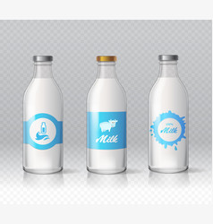 Glass bottles of natural milk isolated realistic vector