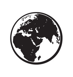 Globe earth icon black and white vector