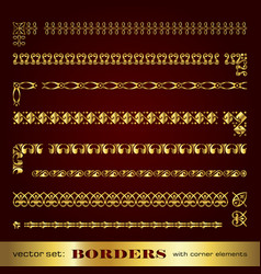 golden corner elements borders and frames vector image
